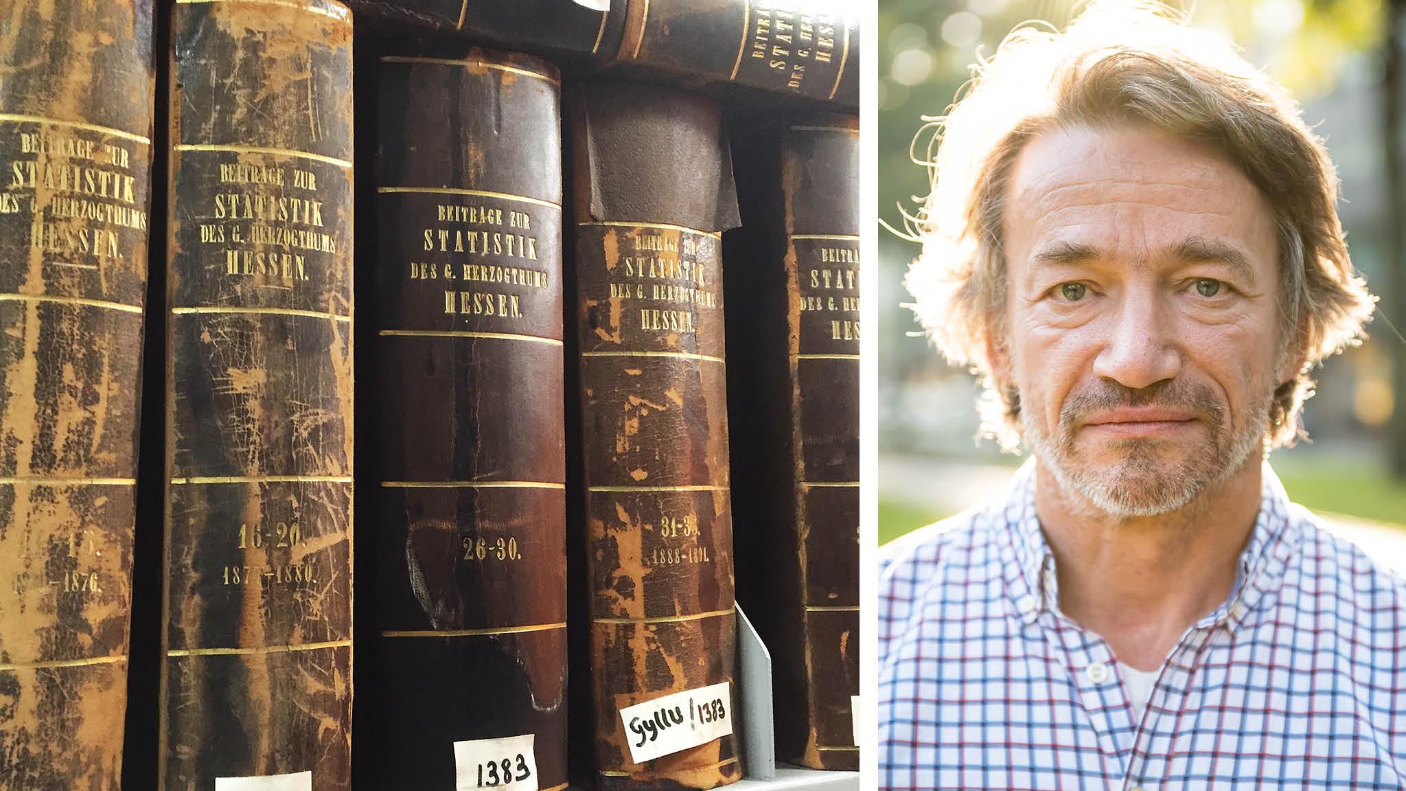 Två bibliotekarier, varav den ena är Hans Ljungberg , jobbar i SCB:s bibliotek. Vad som händer med deras anställningar är ovisst. Biblioteket läggs ned sista december. Foto: Hans Ljungberg och Stina Loman